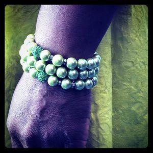 Green Beaded Bracelet - Set of 3